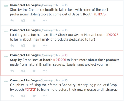 Cosmoprof Twitter page