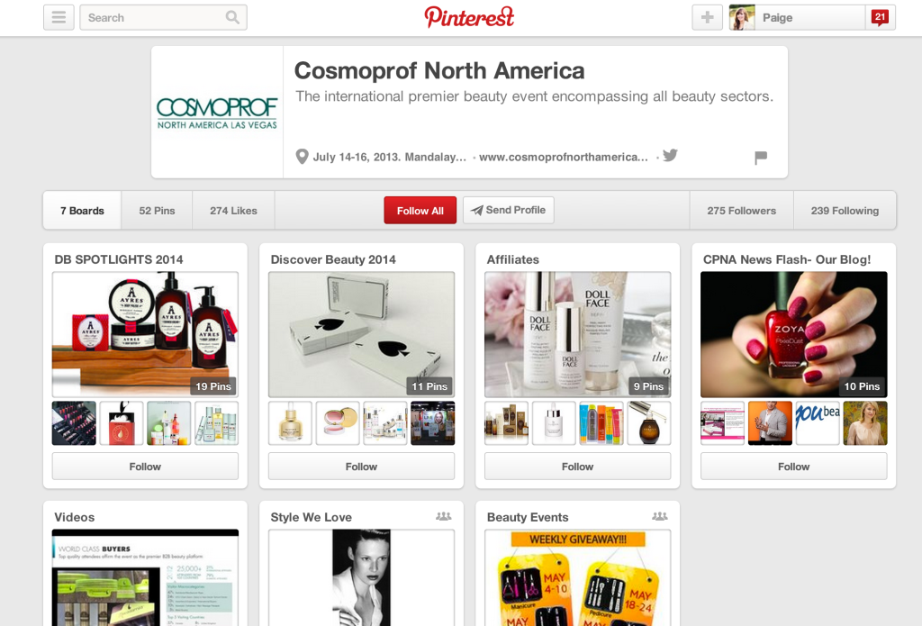 Cosmoprof Pinterest page