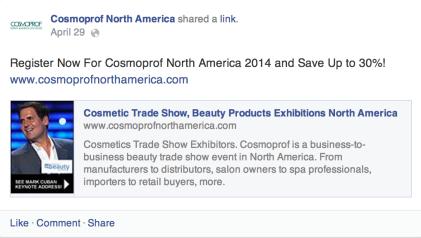 Cosmoprof Registration Promotion